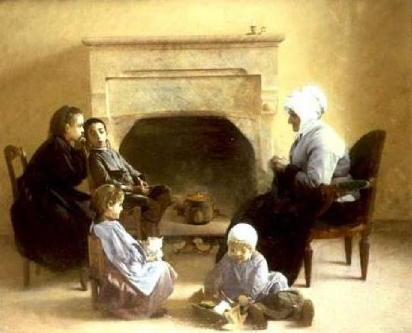 Family-seated-around-a-hearth